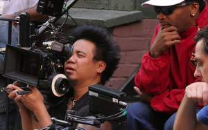 Spike Lee on set with crew